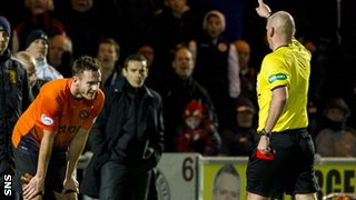 Referee Bobby Madden gives United's Keith Watson his marching orders