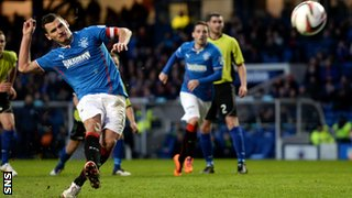 Lee McCulloch scores for Rangers against Stranraer
