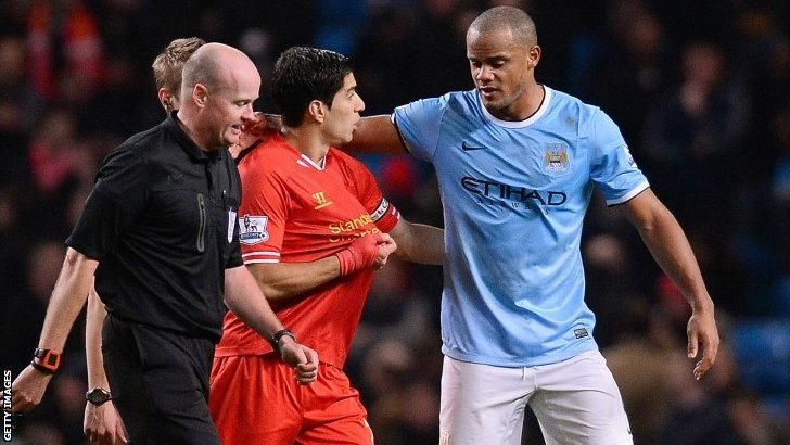 Luis Suarez and Vincent Kompany