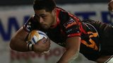 Toby Faletau scores for the Dragons against Cardiff Blues