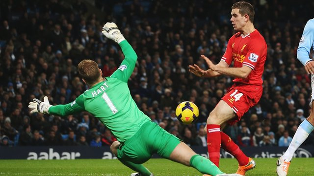Manchester City's Joe Hart saves from Liverpool's Jordan Henderson