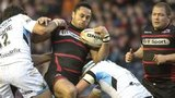 Edinburgh's Ben Atiga can find no way through a Glasgow duo