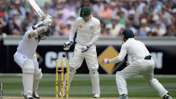 Monty Panesar is bowled