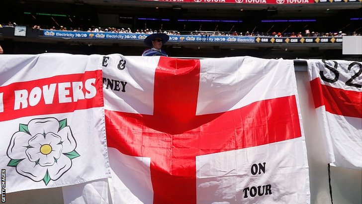 Flags of the Barmy Army are displayed at the MCG
