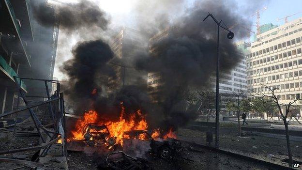 Wrecked cars, Beirut 27 Dec 13