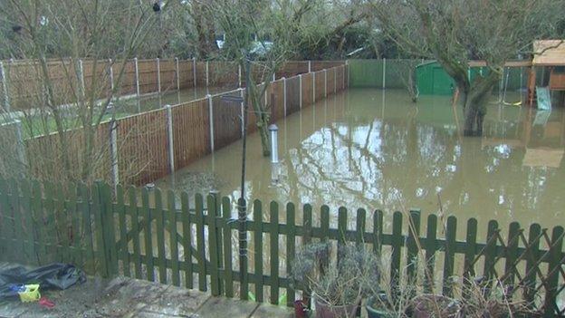 Flooded garden in Byfleet