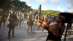 Traditional dancers welcome the relay to Nauru, which was the 12th country on the tour around the Commonwealth.