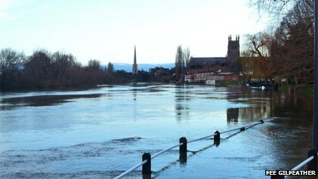 Worcester in flood