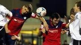 Mike Phenix heads Telford's late equaliser against Hednesford on Boxing Day