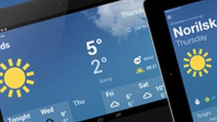 BBC Weather app on a tablet device