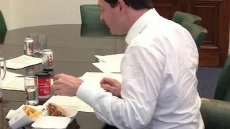 George Osborne eating a burger in Downing Street
