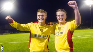 Albion Rovers players Gary Phillips and Ryan Tiffney