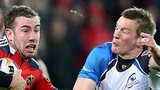 JJ Hanrahan tries to fend off Eoin Griffin at Thomond Park