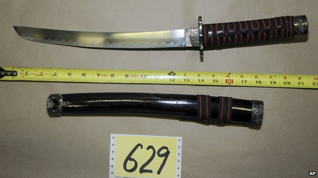 Photo of a sword found at Adam Lanza's home, released by Connecticut police (27 December 2013)
