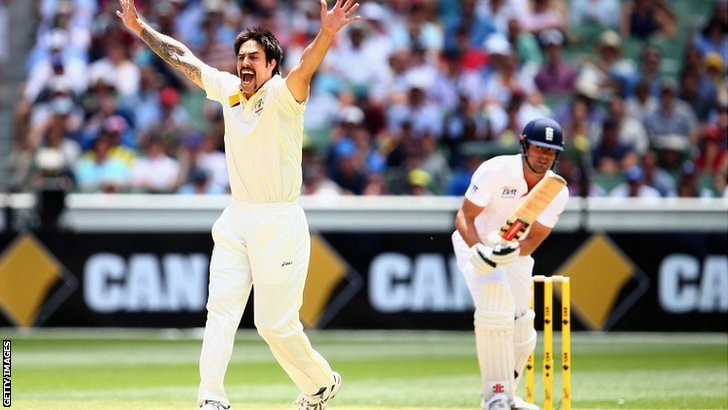 Mitchell Johnson dismisses Alastair Cook for 51