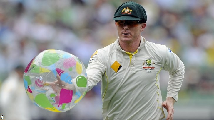 Chris Rogers catches a beach ball
