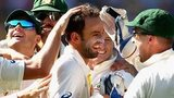 Nathan Lyon receives congratulations