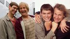 Jim Carrey and Jeff Daniels as Lloyd Christmas and Harry Dunne in Dumb and Dumber