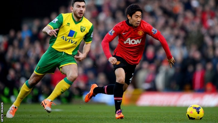 Shinji Kagawa of Manchester United (right) tries to elude Norwich's Robert Snodgrass