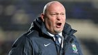 Linfield manager David Jeffrey shouts out some instructions during a game in December