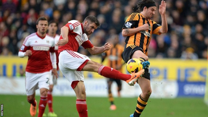 Hull's George Boyd (right) blocks from Fulham's Aaron Hughes