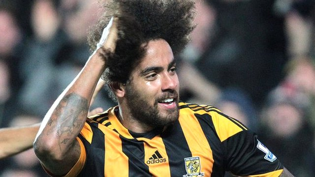 Hull's Tom Huddlestone celebrates after scoring his first goal since April 2011