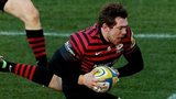 Full-back Alex Goode scores the third of Saracens' four tries at Sixways