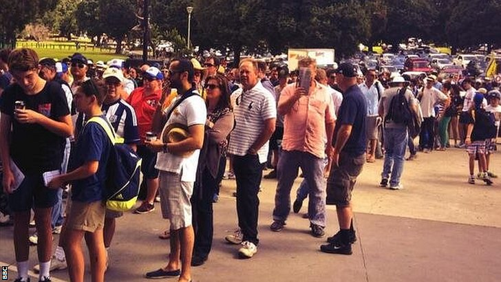 Fans queue to get in at the MCG