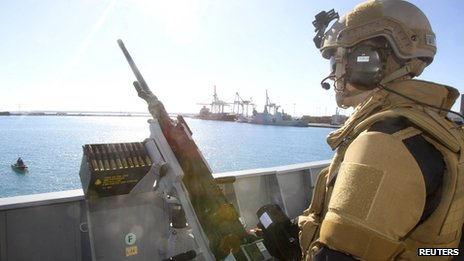 Crew member of the Norwegian frigate in Limassol (14 December 2013)