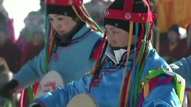 Drummers at ice fishing festival in China