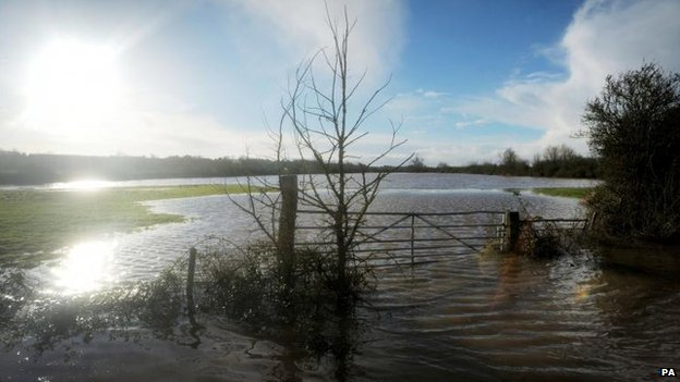 Flooding in Apperley, Gloucestershire following the Christmas storms which swept Britain