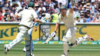 Shane Watson hits the winning run to give Australia a 4-0 lead in the Ashes
