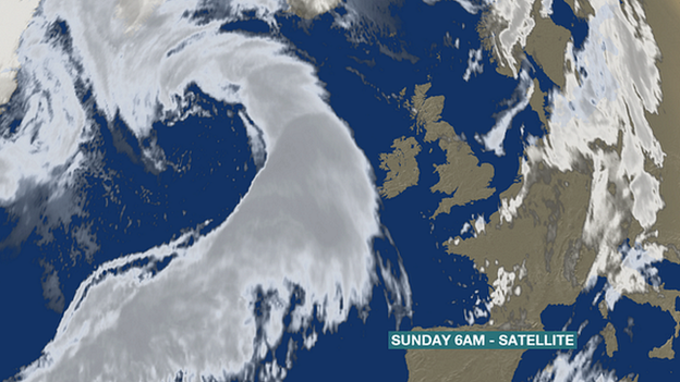 Satellite image from BBC Weather shows storm approaching the UK