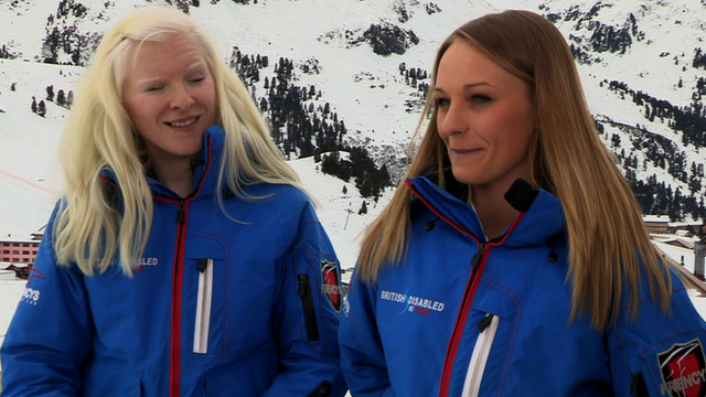 Blind skier Kelly Gallagher and her guide Charlotte Evans