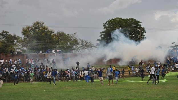 Tear gas at the stadium in Balaka
