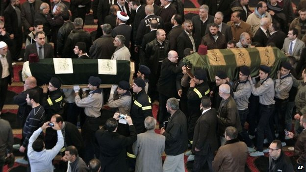 Mourners at the funeral of Mohamad Chatah in Beirut, 29 December 2013