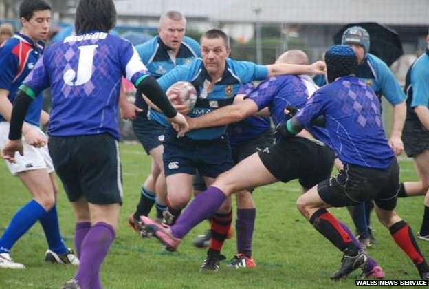 Vincent Francis playing for Caerau Ely RFC