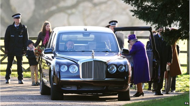 The Queen leaving the service on Sunday at Sandringham