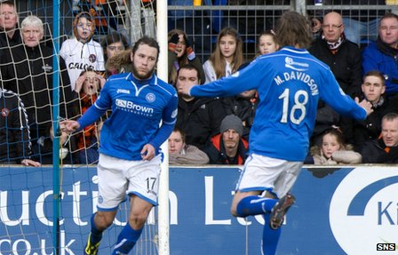 Stevie May celebrates one of his two goals against Dundee Utd