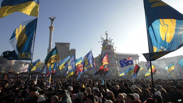 Pro-European Union activists gather in Independence Square in Kiev, Ukraine, on Sunday