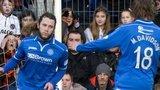Murray Davidson rushes to congratulate St Johnstone goalscorer Stevie May