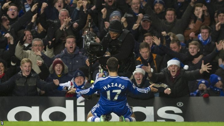 Eden Hazard celebrates scoring for Chelsea