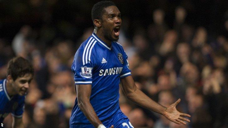 Samuel Eto'o celebrates scoring