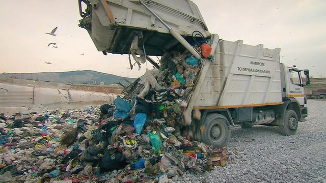 Rubbish being dumped at a landfill site