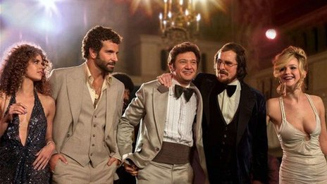 Amy Adams, Bradley Cooper, Jeremy Renner, Christian Bale, and Jennifer Lawrence in American Hustle