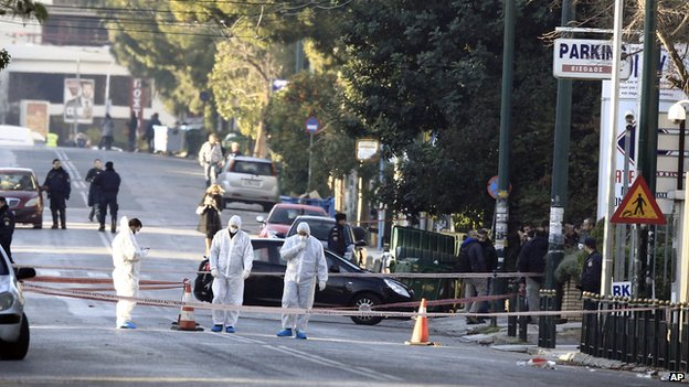 Scene of attack in Athens, 30 Dec 13
