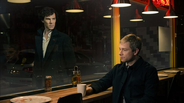 Benedict Cumberbatch as Sherlock and Martin Freeman as John