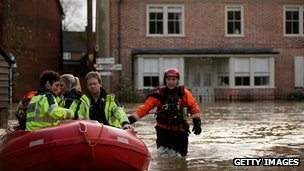 Emergency services working in Yalding on Christmas Day