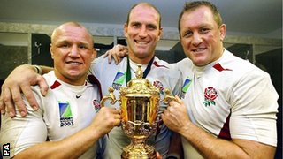 Neil Back, Lawrence Dallaglio and Richard Hill with the World Cup