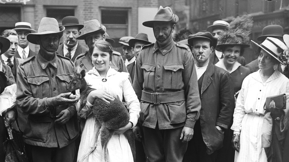 Soldiers in the Australian and New Zealand Army Corps with their one year old pet kangaroo 'Joey'